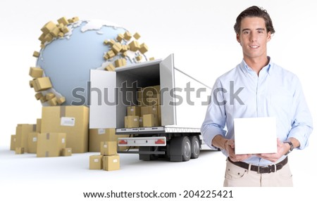 Young man holding a blank white box in an international transportation context, ideal for inserting your own message - stock photo