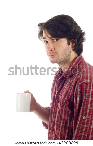 Young  man holding a cup of coffee isolated over  white background