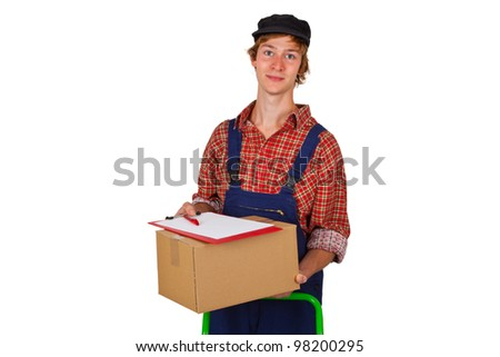 Young man holding a postal package - isolated
