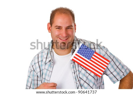 Young man holding American flag isolated on white background