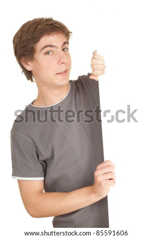 young man holding balnk billboard, white background, series - stock photo