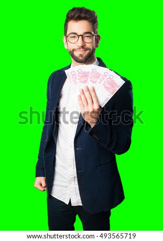 young man holding bills