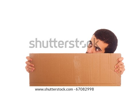 Young Man Holding Blank Carboard with Copy Space