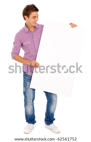 Young man holding blank poster - stock photo