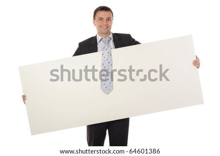 young man holding blank sheet - stock photo