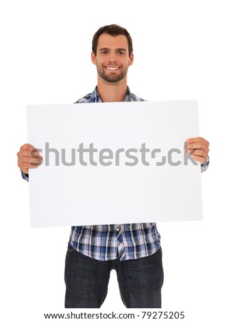 Young man holding blank sign. All on white background. - stock photo