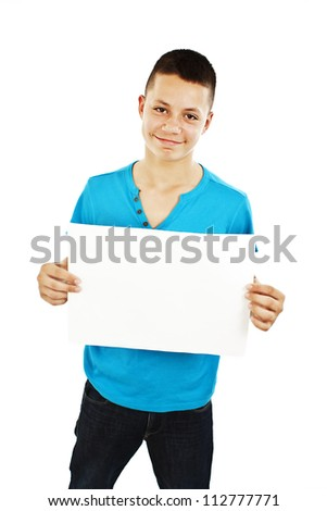 Young man holding blank sign. Isolated on white background