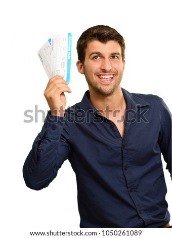 Young Man Holding Boarding Pass On White Background
