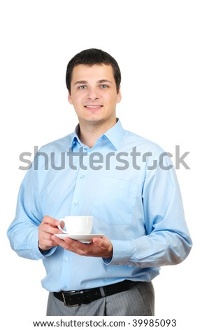 Young man holding coffee(or tea) isolated on white background - stock photo