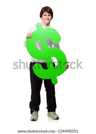 Young Man Holding Dollar Sign Isolated On White Background - stock photo