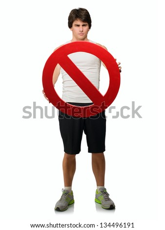 Young Man Holding Forbidden Sign Isolated On White Background - stock photo