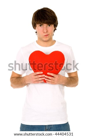 Young man holding heart