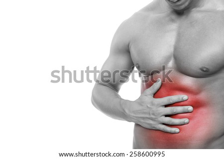 Young man holding his stomach in pain, isolated on white background - stock photo