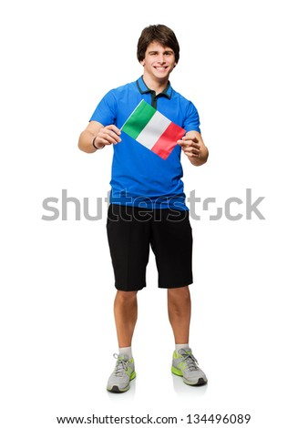 Young Man Holding Italy Flag Isolated On White Background - stock photo