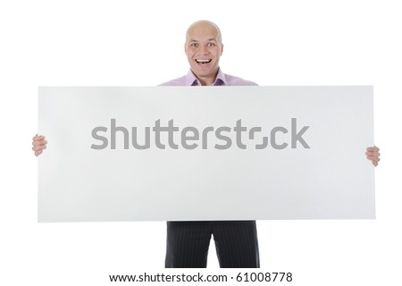 young man holding large blank. Isolated on white - stock photo