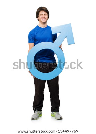 Young Man Holding Male Sign Isolated On White Background - stock photo