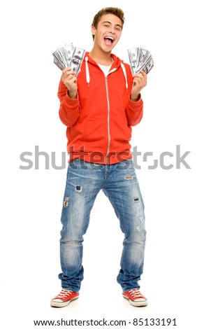 Young man holding money - stock photo