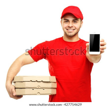Young man holding pizza and smartphone isolated on white - stock photo