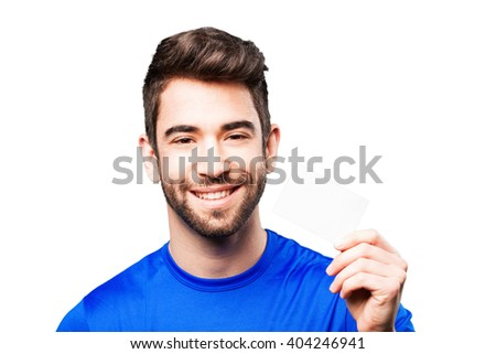 young man holding visit card - stock photo