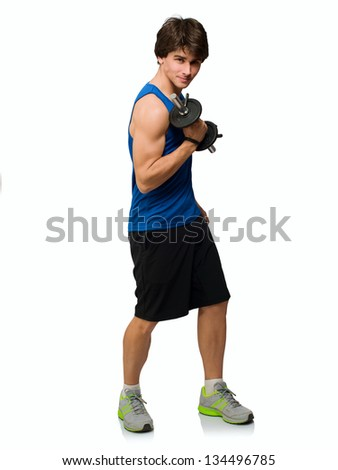 Young Man Holding Weight lift Isolated On White Background - stock photo