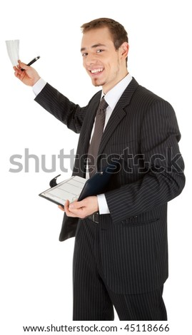 young man in a black business suit with a notebook in hand on white background
