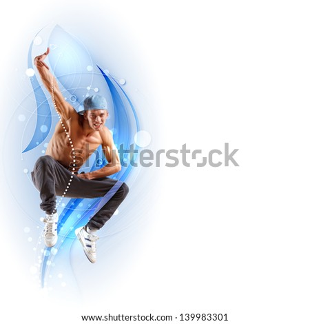 young man in a blue cap dancing hip hop - collage - stock photo