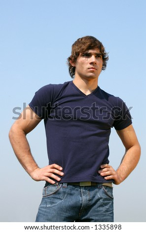 Young man in a blue t-shirt