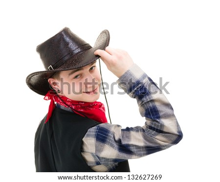 young man in a cowboy hat studio portrait isolated on white - stock photo