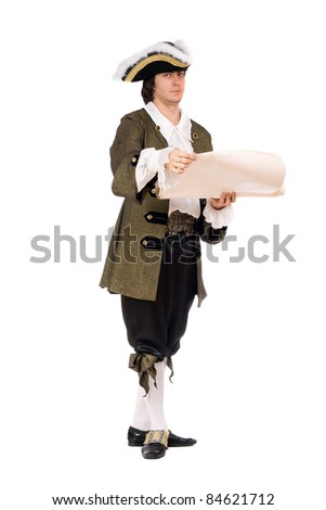 Young man in a historical costume with the decree - stock photo