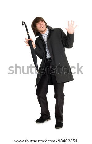 Young man in a panic position. - stock photo