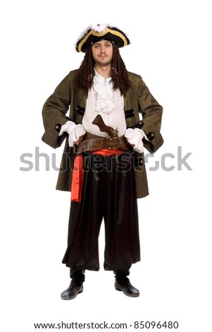 Young man in a pirate costume with pistol. Isolated on white - stock photo
