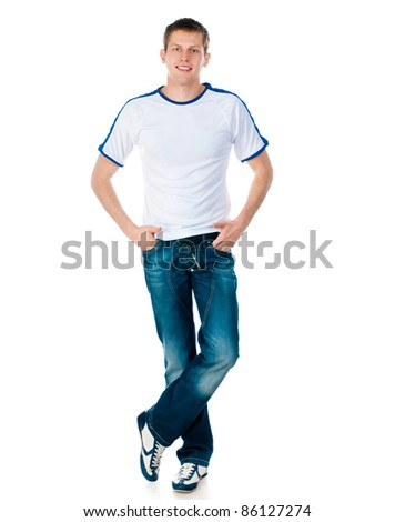 young man in a white T-shirt isolated on white - stock photo