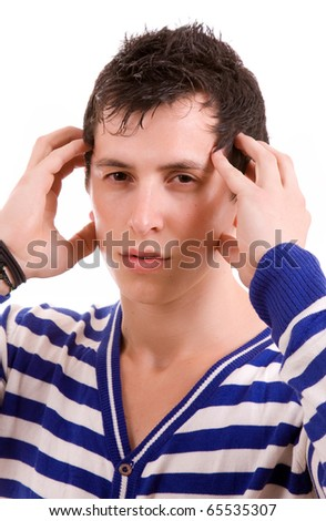 young man in agony with a headache, isolated on white - stock photo