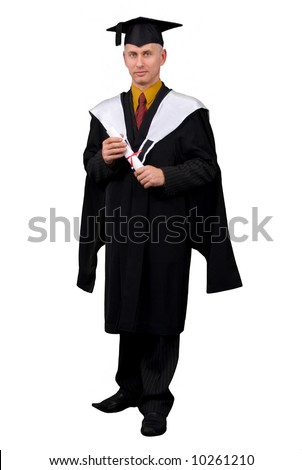 Young man in black graduation gown holding certificate of degree. Isolated over white background.