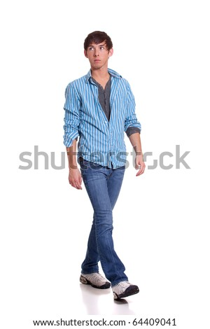 Young man in blue - stock photo