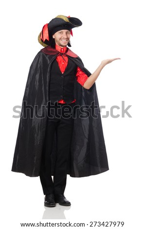 Young man in carnival coat isolated on white - stock photo