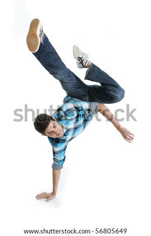 Young man in casual clothes dancing - stock photo
