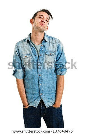 Young man in casual cloths isolated on white - stock photo