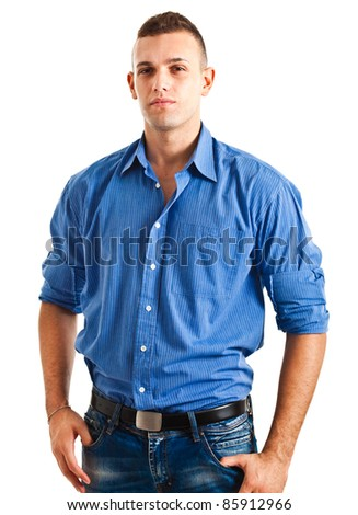Young man in casual cloths isolated on white