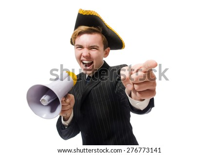 Young man in costume with pirate hat and megaphone isolated on white - stock photo