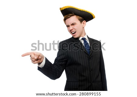Young man in costume with pirate hat isolated on white - stock photo