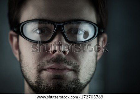 Young man in glasses portrait. - stock photo