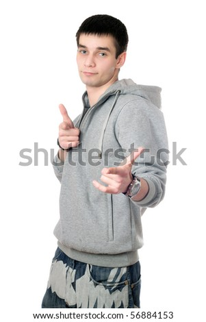Young man in gray sweatshirt with a hood - stock photo
