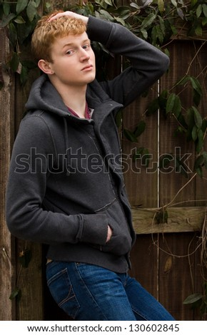 Young Man in Jacket and Jeans - stock photo