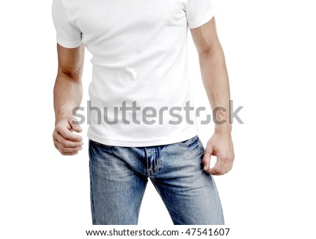 young man in jeans and t-shirt, torso - stock photo