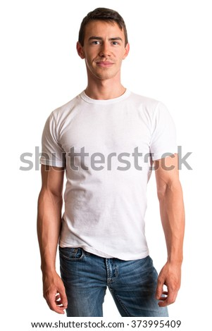 Young man in jeans and tee shirt. Studio shot over white.