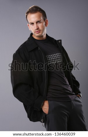 Young man in leather jacket