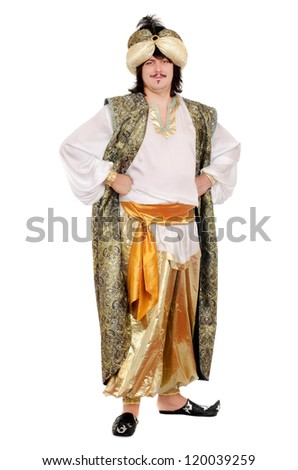 Young man in oriental costume. Isolated on white background - stock photo