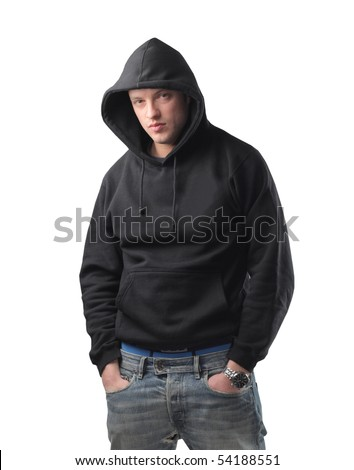 Young man in stylish sweatshirt - stock photo