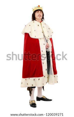 Young man in the royal costume. Isolated on white - stock photo
